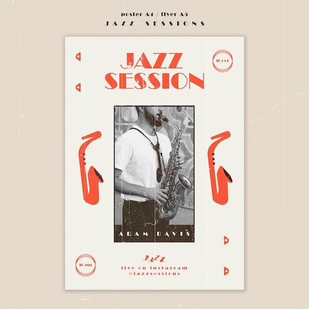 Modello di poster del concetto di jazz Psd Gratuite