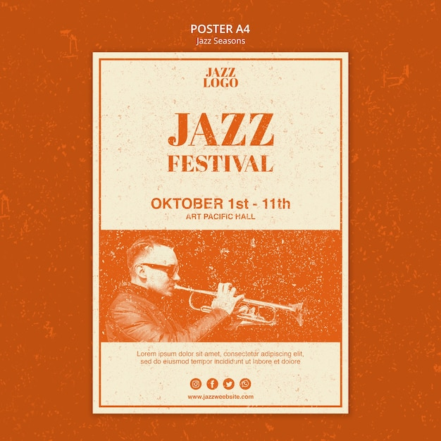 Jazz festival poster template Free Psd