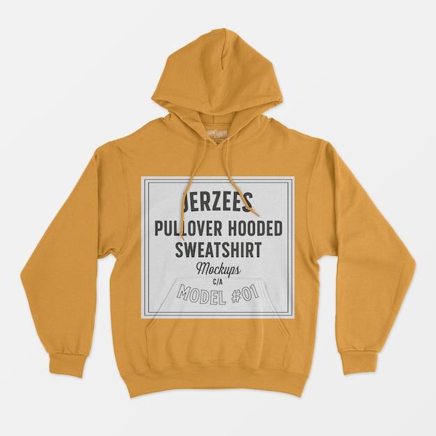 Jerzees pullover hooded sweatshirt mockup 01 Free Psd