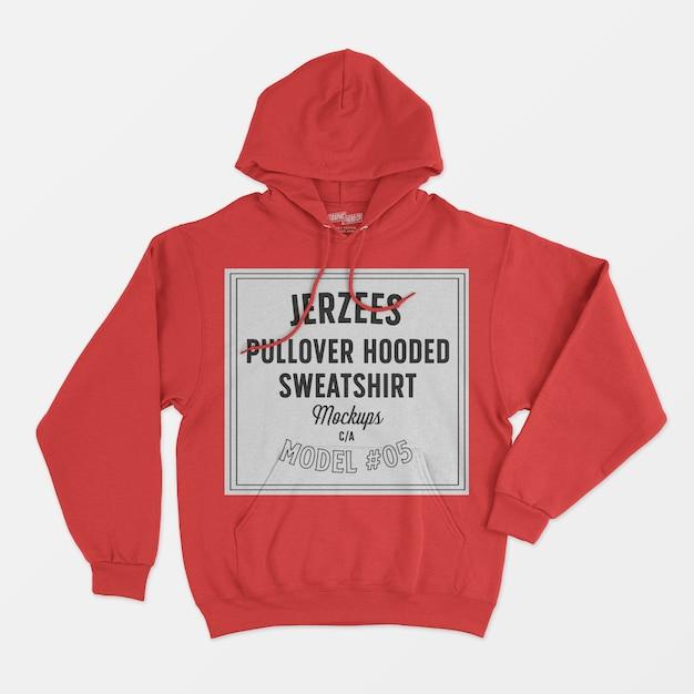 Jerzees pullover hooded sweatshirt mockup 05 Free Psd