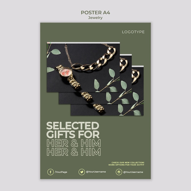 Jewelry store flyer template Free Psd