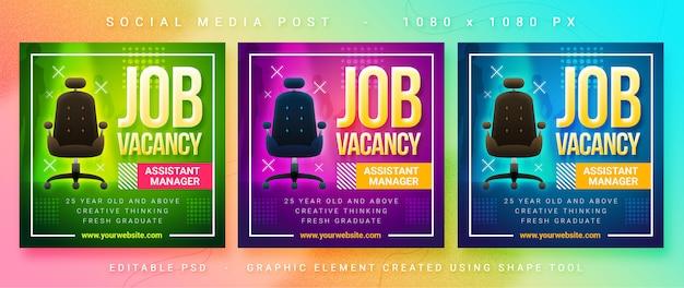Job vacancy social media post Premium Psd