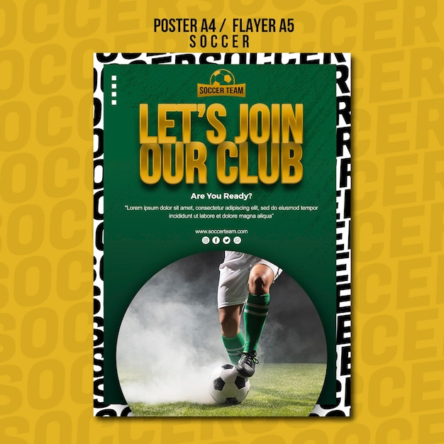Join the club school of soccer poster template Free Psd