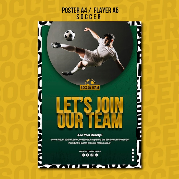 Join the team school of soccer poster template Free Psd