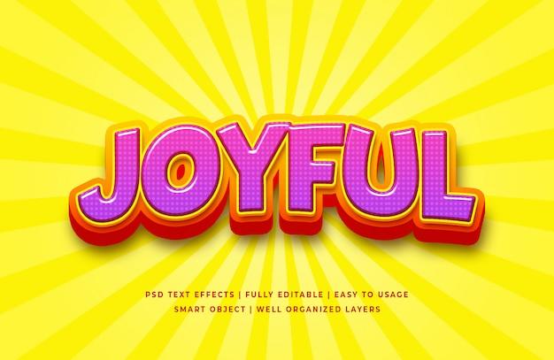 Joyful cartoon 3d text style effect Premium Psd