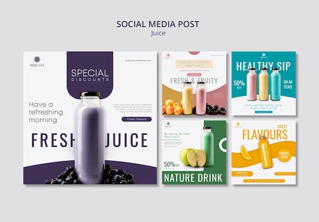Juice bottle social media posts Free Psd