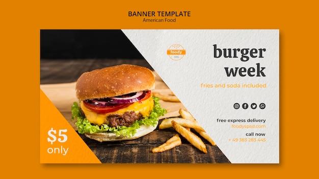 Banner per la consegna espressa gratuita della settimana succosa di hamburger Psd Gratuite