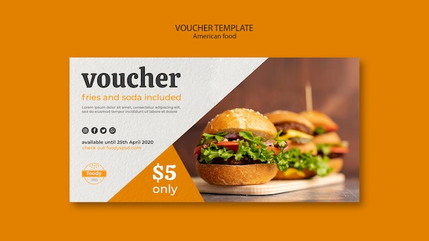 Juicy burger week voucher template Free Psd
