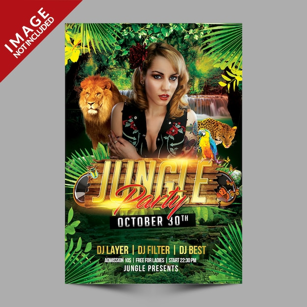 Jungle party poster Premium Psd