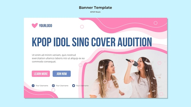 K-pop banner with girls singing Free Psd
