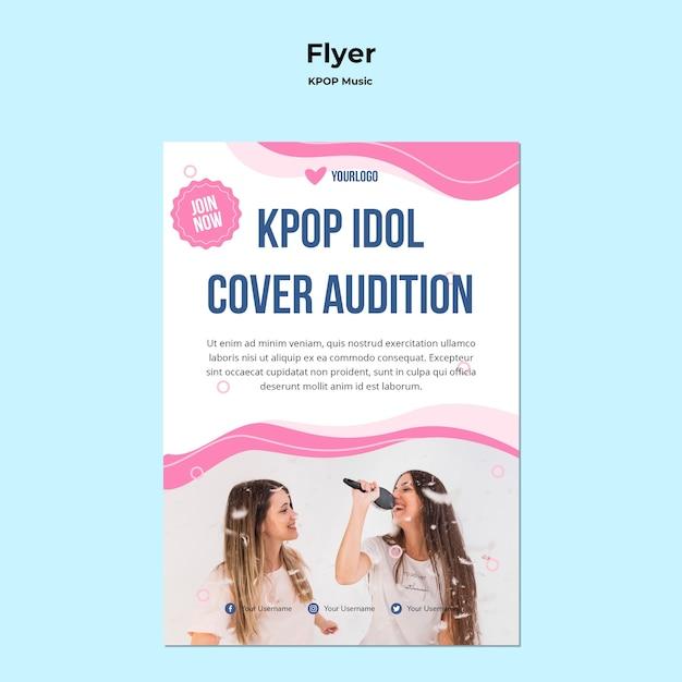 Modello di volantino k-pop con foto di ragazze che cantano Psd Gratuite