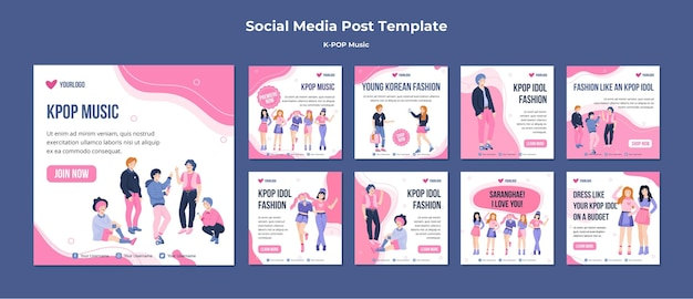 K-pop social media posts template Free Psd