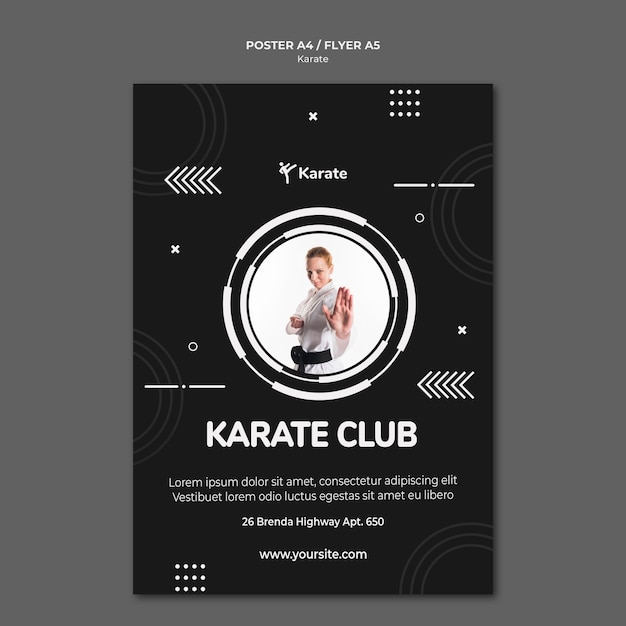 Modello di poster di classe di karate Psd Gratuite