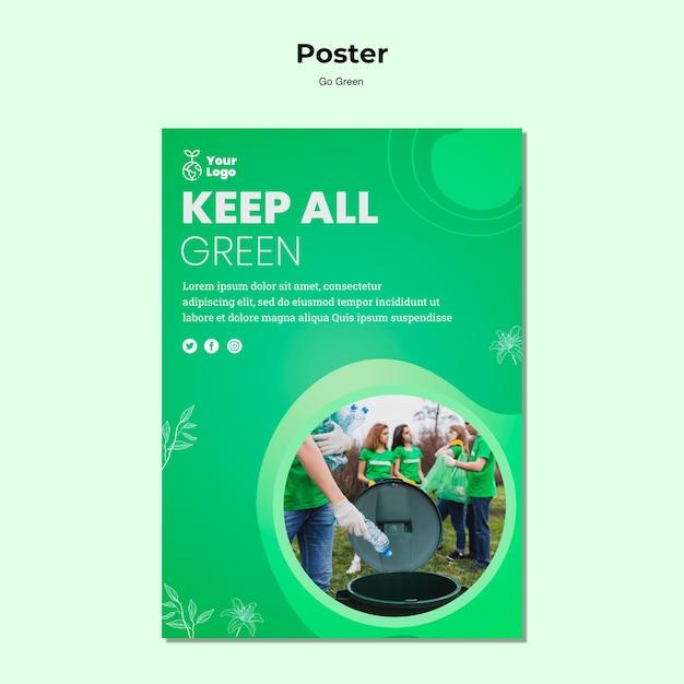 Mantieni tutto il modello di poster verde Psd Gratuite
