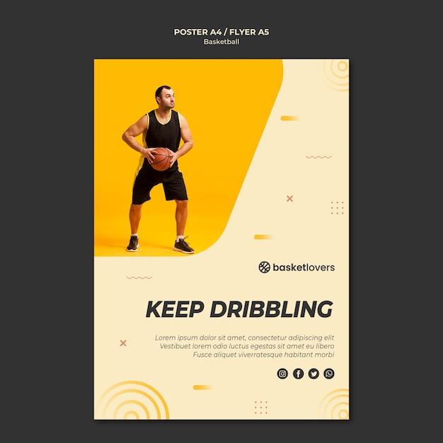 Держите дриблинг шаблона баскетбольного флаера Бесплатные Psd