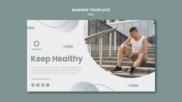 Keep healthy doing sport banner template Free Psd