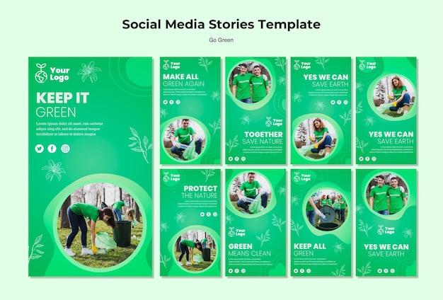 Mantieni il modello verde di storie sui social media Psd Gratuite