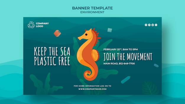 Keep the ocean clean banner template with seahorse Free Psd