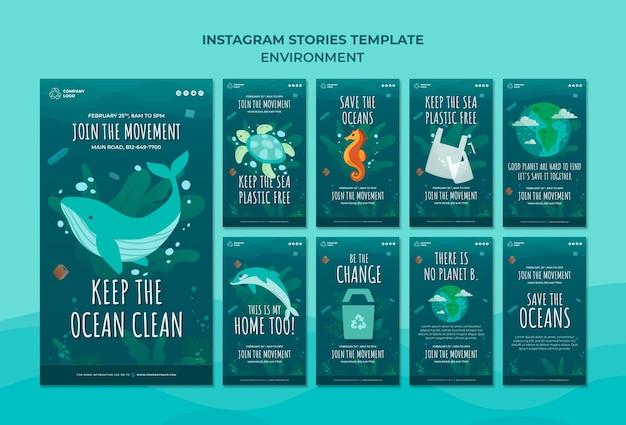 Keep the ocean clean instagram stories template Free Psd