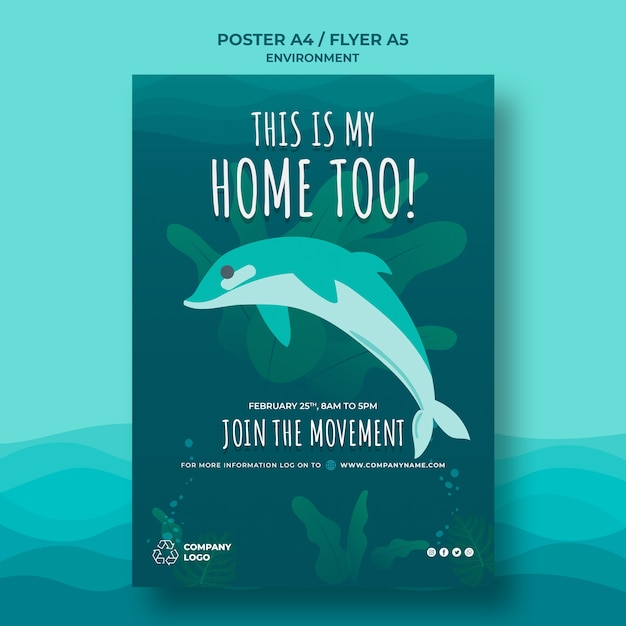 Keep the ocean clean poster template with dolphin Free Psd