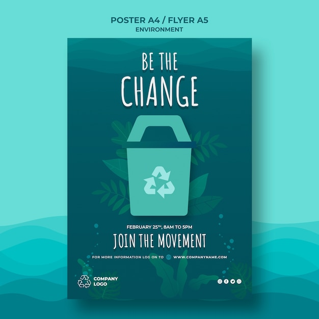 Keep the ocean clean poster template with recycling sign Free Psd