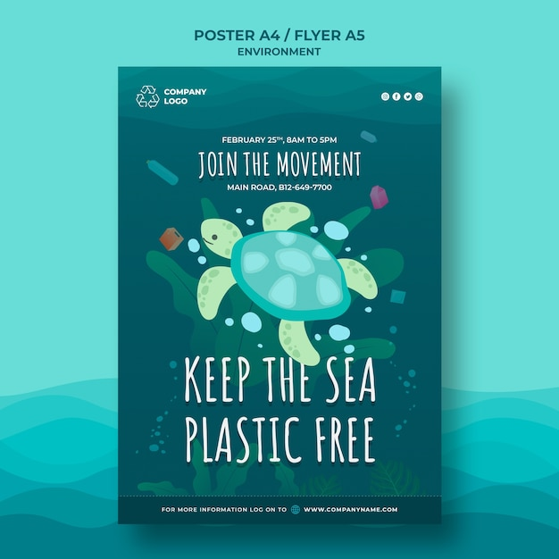 Keep the ocean clean poster template with turtle Free Psd