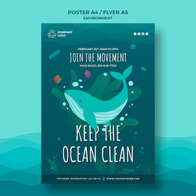 Keep the ocean clean poster template with whale Free Psd