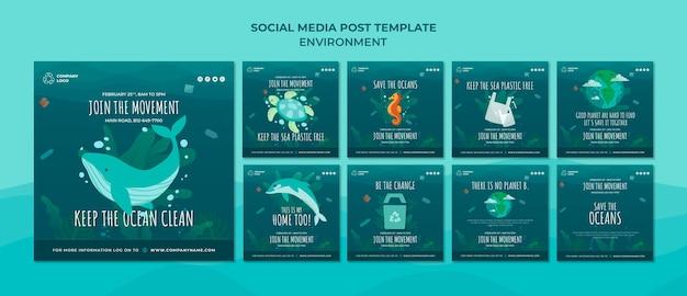 Mantieni pulito l'oceano modello di post sui social media Psd Gratuite