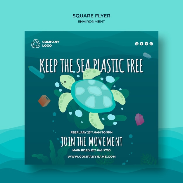 Keep the ocean clean square flyer template with turtle Free Psd