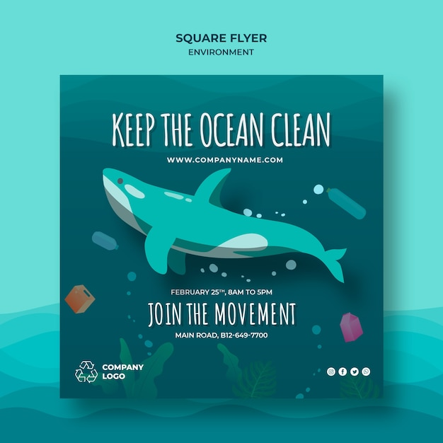 Keep the ocean clean square flyer template with whale Free Psd