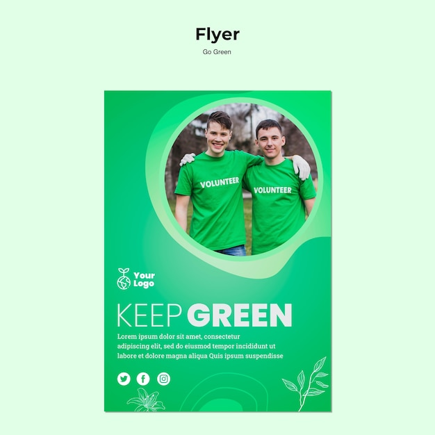 Keep planet green flyer template Free Psd