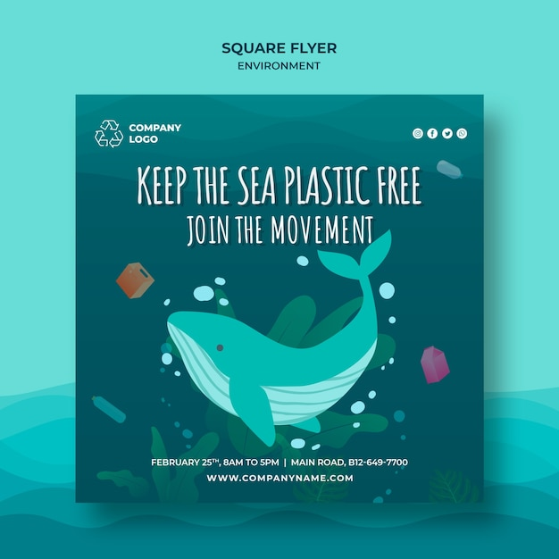 Keep the sea plastic free save waters square flyer Free Psd