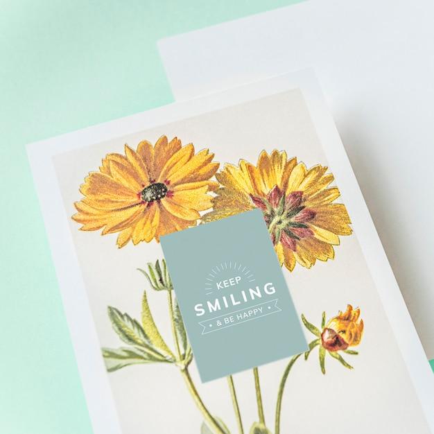 Keep smiling greeting card mockup Free Psd