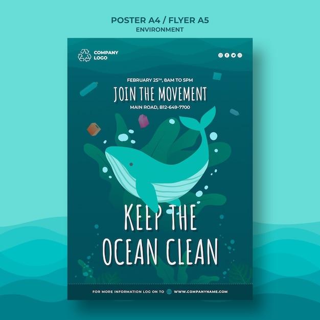 Держите океан чистый шаблон плаката с китом Бесплатные Psd