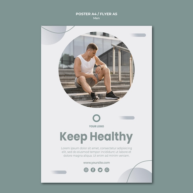 Keep yourself healthy flyer template Free Psd