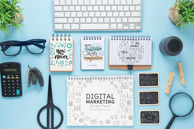 Keyboard glasses and notebook mock-up Free Psd