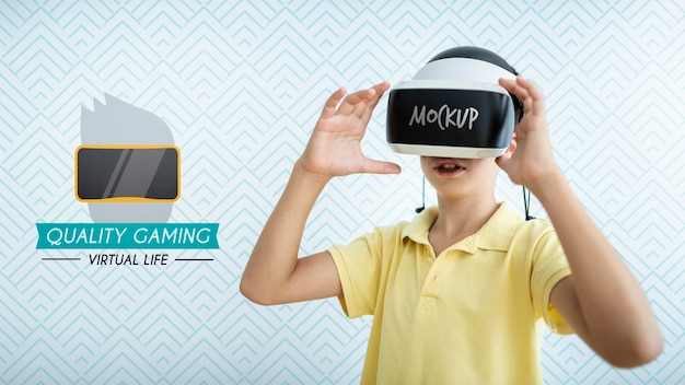 Kid playing games mock-up Free Psd