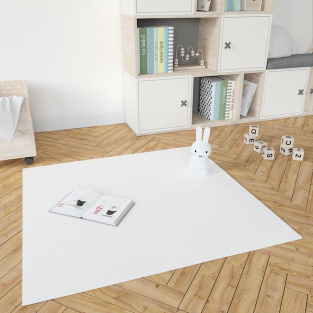화이트 카펫과 아이의 방 무료 PSD 파일