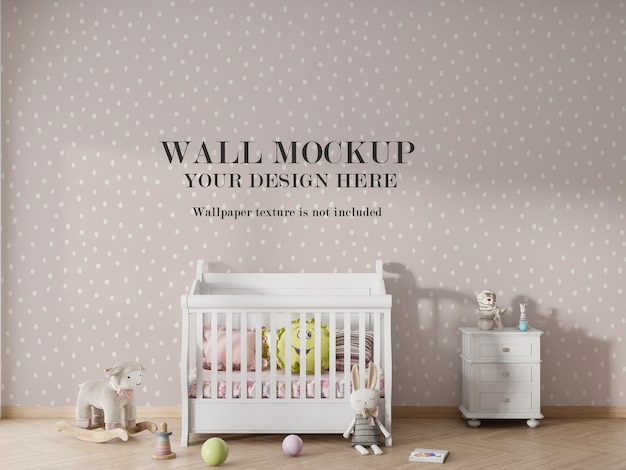 Kids bedroom wallpaper mockup design Premium Psd
