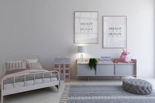 Детская спальня с рамкой плаката дизайна макета Premium Psd