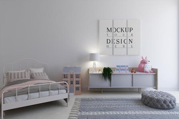 Детская спальня с макетом плаката Premium Psd