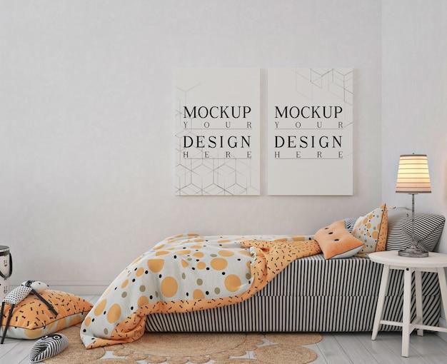 モックアップポスターフレーム付きキッズベッドルーム Premium Psd