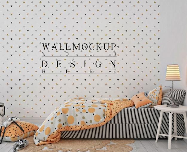 オレンジ色のベッドと壁のモックアップ付きの子供の寝室 Premium Psd
