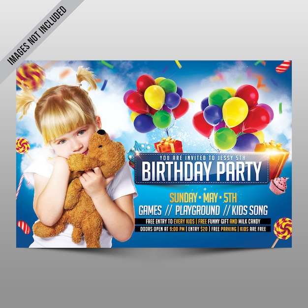 Kids birthday party flyer Premium Psd