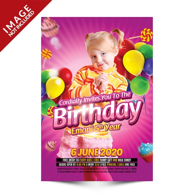 Kids birthday party flyer Premium Psd