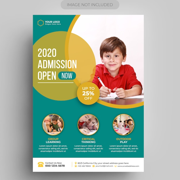 Kids education flyer template Premium Psd