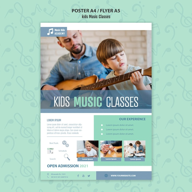 키즈 음악 수업 컨셉 포스터 템플릿 무료 PSD 파일