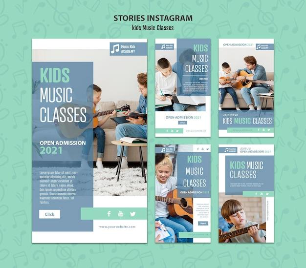Modello di concetto di storie di instagram di lezioni di musica per bambini Psd Gratuite