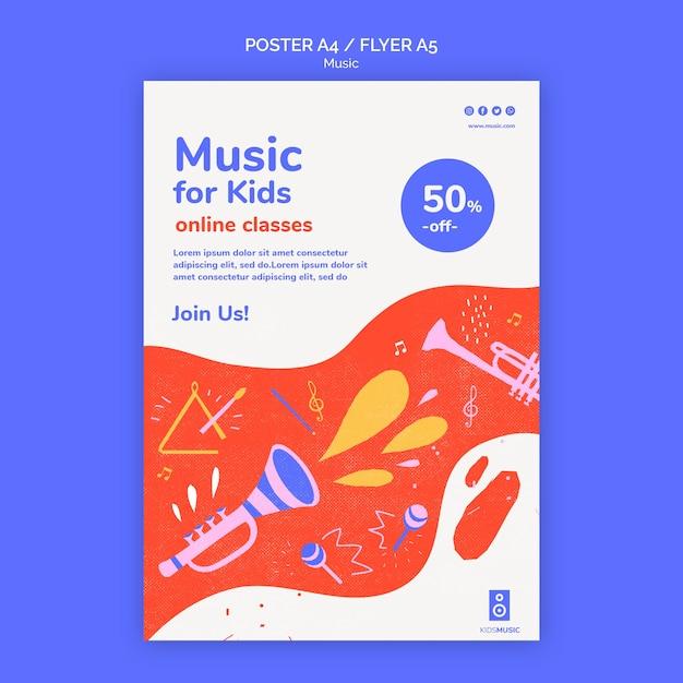 Poster modello di piattaforma musicale per bambini Psd Gratuite