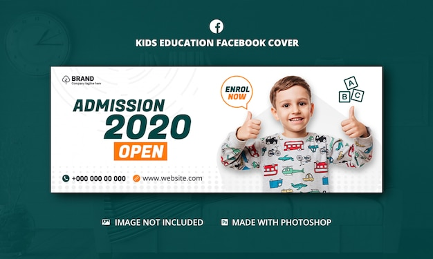 Kids school education admission facebook cover template Premium Psd